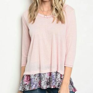 🆑HP🆑LAST ONE🆑PINK FLORAL HEM TUNIC🆑